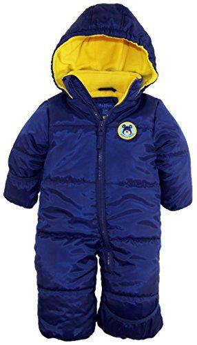iXtreme Baby Boys Newborn Cute Teddy Bear One Piece Puffer Winter Snowsuit