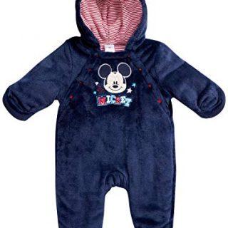 Disney Mickey Mouse Newborn Baby Boys Snowsuit Plush Fleece Pram