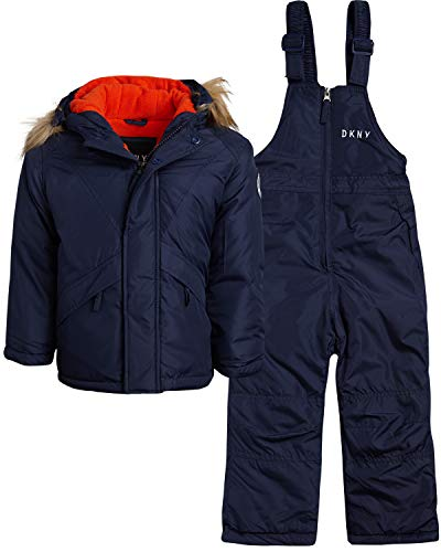 DKNY Boys 2-Piece Puffer Ski Jacket and Insulated Snowbib Snowsuit Set