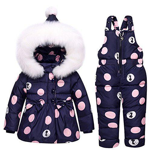Baby Girls Snowsuit Toddler Puffer Hooded Jacket + Bib Pants 2 Pieces
