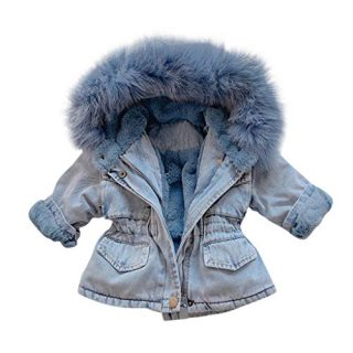 MOMKER Baby Girls Thick Denim Jacket Toddler Kids Hooded