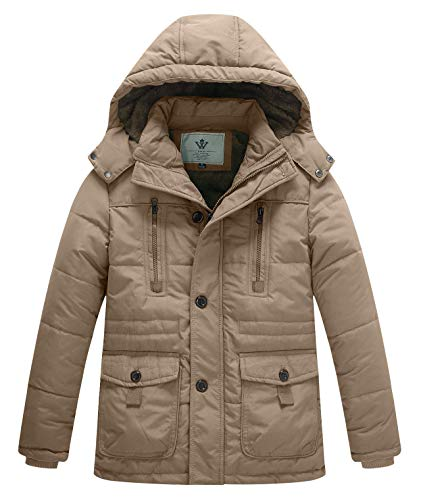 WenVen Boy's Winter Warm Padded Puffer Coat Thicken Hooded Parka Jacket