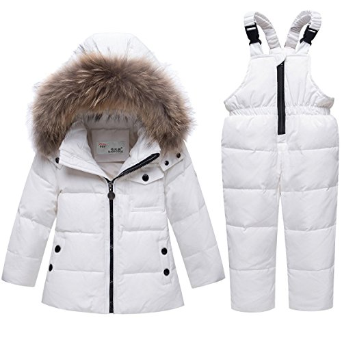 JELEUON Baby Girls and Boys Winter Warm Hooded Fur Trim Zipper