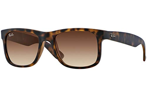 Ray-Ban Justin Rectangular Sunglasses, Rubber Light Havana/Brown Gradient
