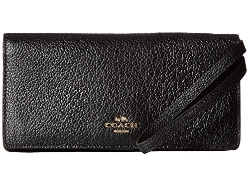 COACH Pebbled Leather Slim Wallet Li/Black One Size