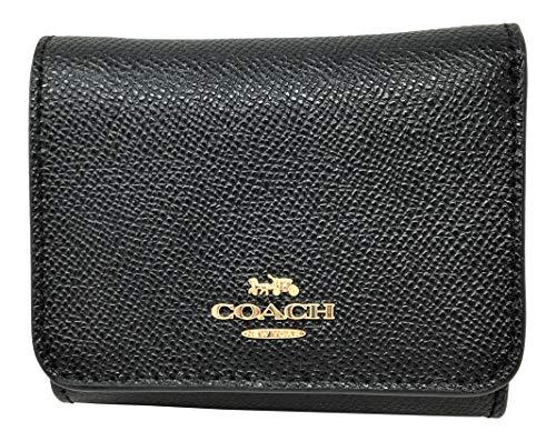 Coach Signature Small Compact Tri-Fold Wallet Black