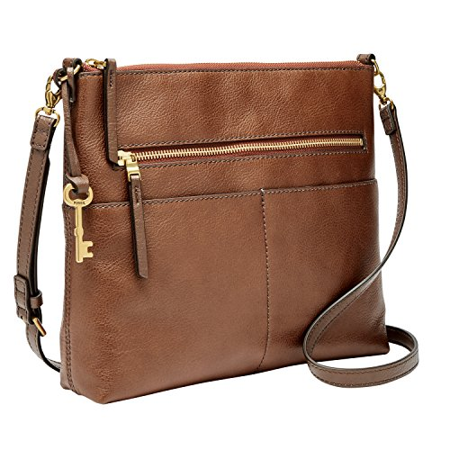 Fossil Women's Fiona Leather Large Crossbody Handbag, Brown