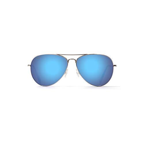 Maui Jim Sunglasses | Mavericks | Polarized Aviator Frame, Silver Blue Lense