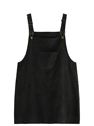 Romwe Women's Plus Size Pocket Front Adjustable Straps Corduroy Pinafore