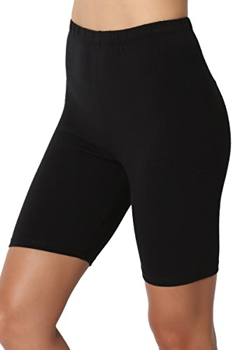 TheMogan Women's Mid Thigh Cotton High Waist Active Short Leggings