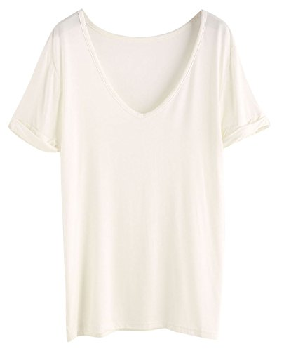 SheIn Women's Summer Short Sleeve Loose Casual Tee T-Shirt Off White/Cream