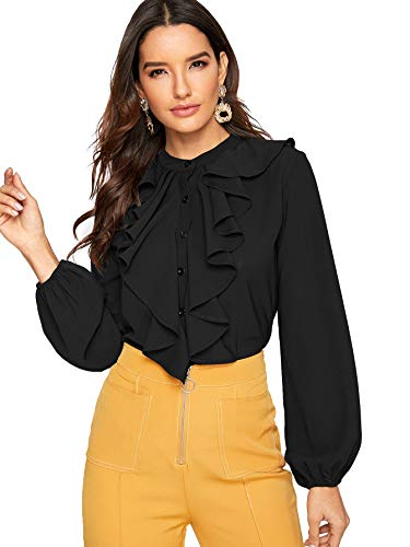 SheIn Women's Long Sleeve Button Down Lotus Ruffled Work Shirt Chiffon Blouse