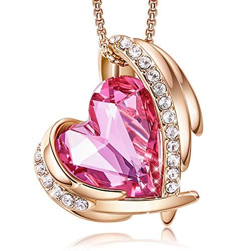 CDE Pink Angel 18K Rose Gold Plated Pendant Necklaces Women Embellished