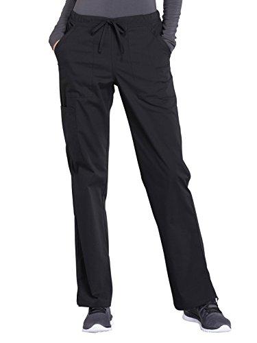 CHEROKEE Workwear Professionals WW160 Women's Mid Rise, Straight Leg Drawstring Pant, Black, Medium