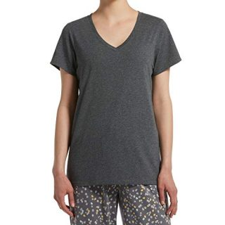 HUE Sleepwear Women's Short Sleeve V-Neck Sleep Tee with Temp Tech