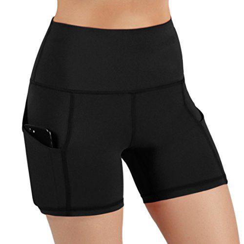ODODOS High Waist Out Pocket Yoga Short Tummy Control Workout Running