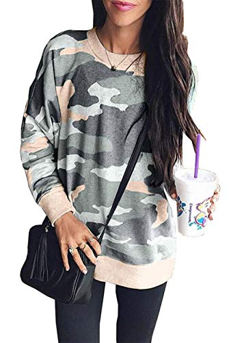 BTFBM Women Camouflage Print Long Sleeve Crew Neck Loose Fit Casual