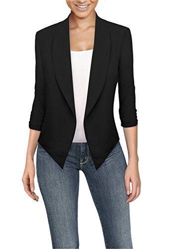 Womens Casual Work Office Open Front Blazer Black Medium