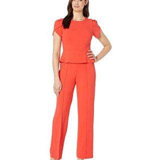 Donna Morgan Women's Peplum Wide Leg Jumpsuit, Scarlet Red