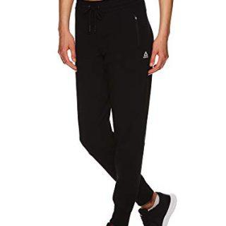 Reebok Women's Slim Fit Jogger Pants - Mid Rise Waist Athleisure Sweatpants