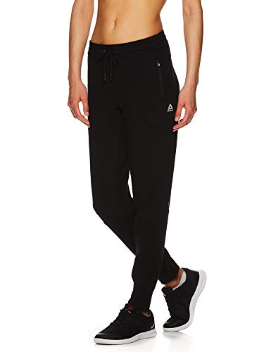 Reebok Women's Slim Fit Jogger Pants - Mid Rise Waist Athleisure Sweatpants