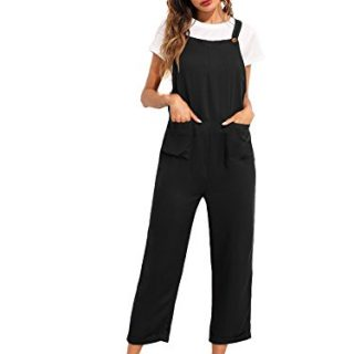 Verdusa Women's Sleeveless Straps Pockets Plaid Culotte Jumpsuit Overalls Black