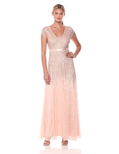 Adrianna Papell Women's Long Beaded V-Neck Dress with Cap Sleeves