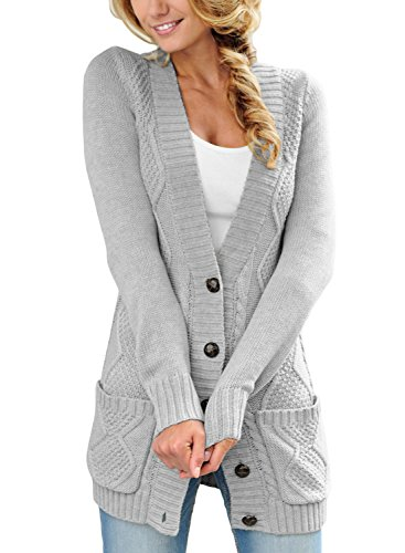 SIDEFEEL Women Open Front Pocket Cardigan Sweater Button Down Knit Sweater