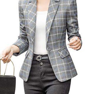 ZingineW Women's Blazer Long Sleeve Jacket One Button Office Cardigan Casual