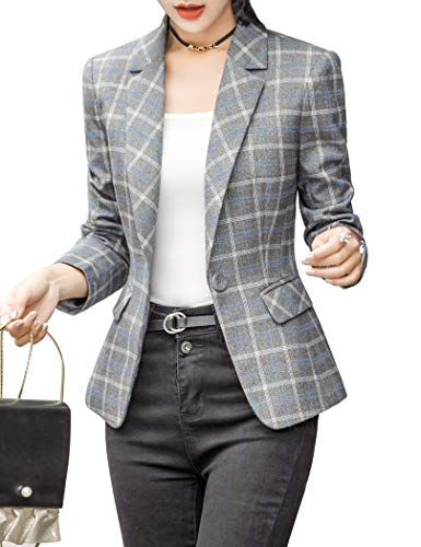 ZingineW Women's Blazer Long Sleeve Jacket One Button Office Cardigan Casual