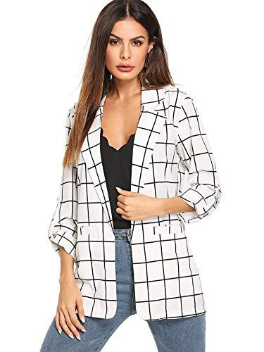 Milumia Women's Fashion Open Front Plaid Work Office Casual Blazer Jacket