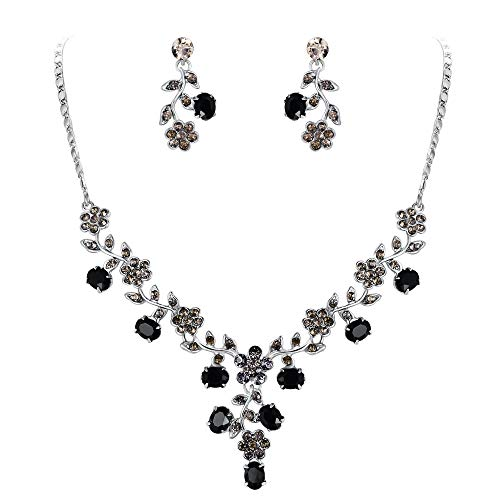 EVER FAITH Flower Leaf Necklace Earrings Set Austrian Crystal Silver