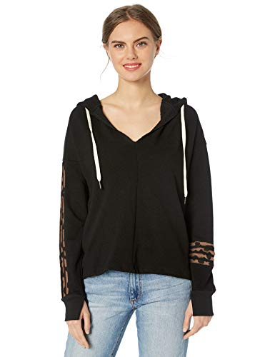 n:PHILANTHROPY Women's Casual Sweatshirt, Black Leopard Winslow