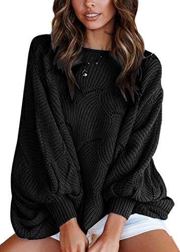 ECOWISH Women Sweater Oversized Lantern Sleeve Jumper Irregular Wave