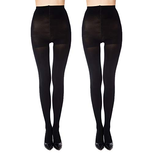 MANZI 2 Pairs Women's Run Resistant Control Top Panty Hose Opaque Tights