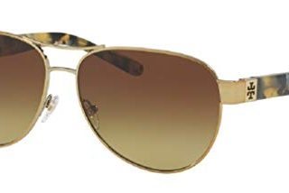 Tory Burch 60M Gold/Pearl Tokyo Tortoise/Brown Olive Gradient Aviator Sunglasses