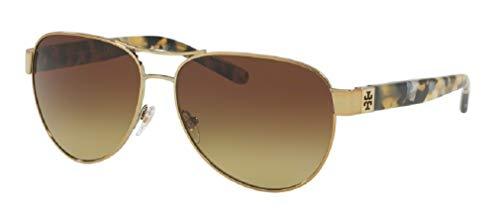 Tory Burch 60M Gold/Pearl Tokyo Tortoise/Brown Olive Gradient Aviator Sunglasses