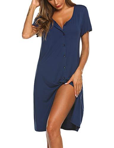 Ekouaer Women's Nightshirt Short Sleeve Button Down Nightgown V-Neck