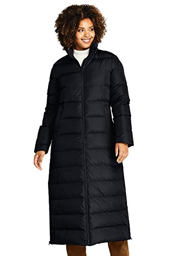 Lands' End Women's Plus Size Winter Long Down Coat with Faux Fur Hood