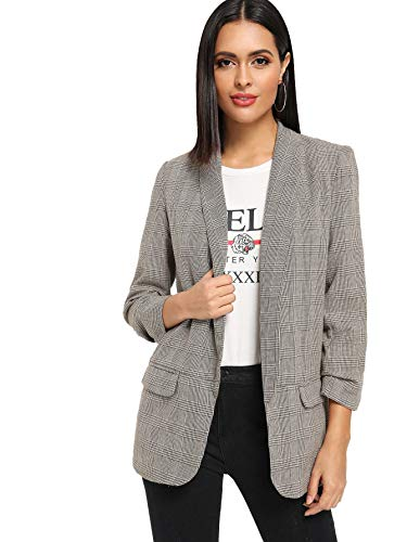 SheIn Women's Shawl Collar 3/4 Ruched Sleeve Open Front Blazer Jacket