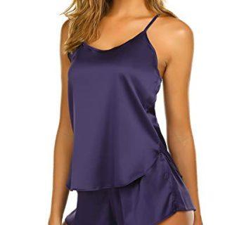 Ekouaer Sweetness Short Sexy PJ Camisole Set Pajama Sleep Shirt Sleepwear Purple