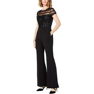 Adrianna Papell Women's Petite Short Sleeve Jumpsuit with Illusion Sequin Bodice