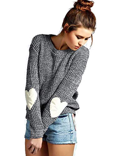 shermie Crew Neck Womens Sweaters Cute Heart Pattern Patchwork Long Sleeve