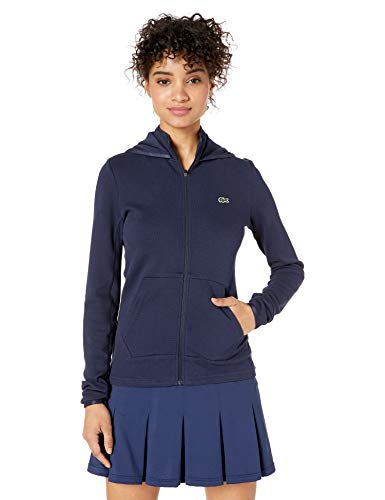 Lacoste Women's L/S Double FACE Pique Hooded Zip Sweatshirt