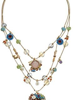 """Betsey Johnson """"Weave and Sew Woven Mixed Multi-Colored Bead Flower Heart Illusion Necklace"""
