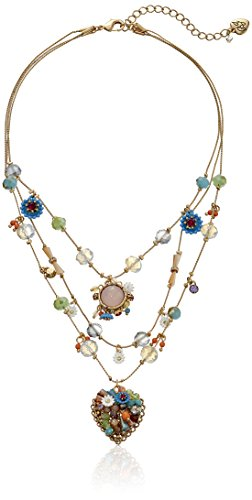 "Betsey Johnson ""Weave and Sew Woven Mixed Multi-Colored Bead Flower Heart Illusion Necklace"