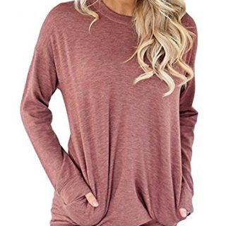 onlypuff Long Tunic Tops for Women Solid Loose Fit Pocket Shirts Casual Red