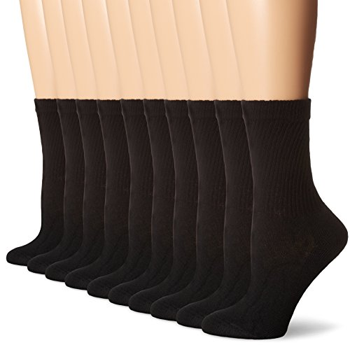 Hanes Women's Big and Tall Cushioned Crew Athletic, 10-Pack, Black