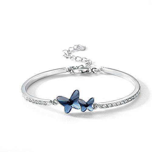 T400 Blue Purple Pink Butterfly Swarovski Crystal Bangle Bracelet