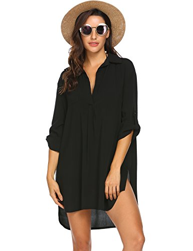 Ekouaer Summer Womens Beach Wear Cover up Swimwear Beachwear Bikini Black